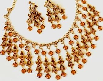 Goldette Egyptian Crystal Rhinestone Necklace Earring Set