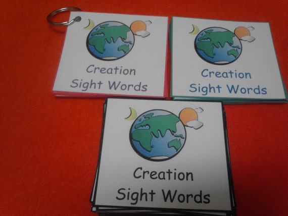 Items Similar To Creation Bible Flash Cards Sight Words