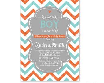 Baby shower boy or girl chevron aqua and orange printable invitation