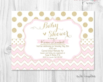 Pink and gold baby shower invitation Baby shower girl invitation soft pink chevron and gold glitter polka dot