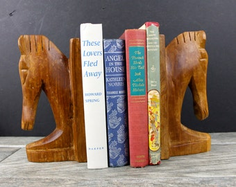 Mid Century  Danish Modern Wooden Horse Bookends