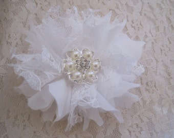 Petite Winter White Rustic Shabby Wedding Flower Hair Clip Bride, Mother of the Bride, Bridesmaids  with Pearl and Rhinestone Accent