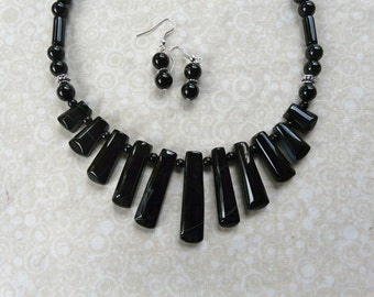 SALE!!  18 Inch Black Striped Agate Stick Beads Necklace with Earrings