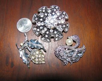 Vintage Destash Rhinestone Jewelry Craft Lot