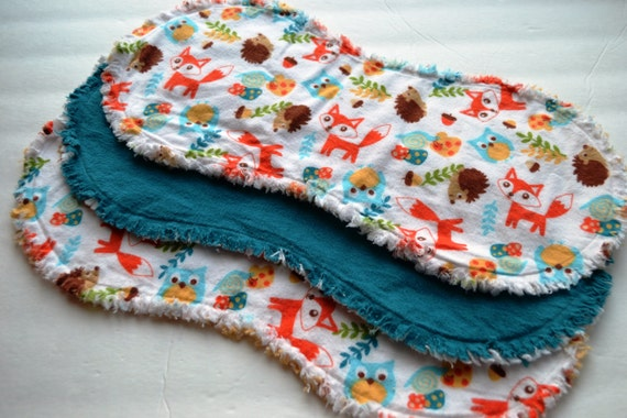 Baby boy or girl burp cloth set of 3 : Flannel / Contoured / Baby burp cloths / Burp cloths / Burp rags / fox / owl / forest animals