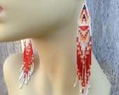 Exclusive long Red Fire in the Sky Chevron triangle delica beaded silver 5 1/4 Boho Native style hand  beaded earrings