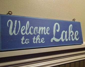 WELCOME to the LAKE blue, painted retro beach, cottage, lake house wooden sign