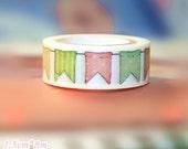 Diary Scrapbook Adhesive Masking Deco Washi Tape - Rainbow Flag (1.5 cm Width)