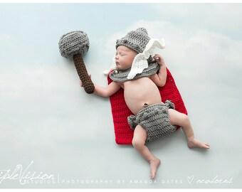 Newborn Little Thor Crochet Photo Prop Hero Set Norse God of Thunder Cape Hat Diaper Cover Hammer