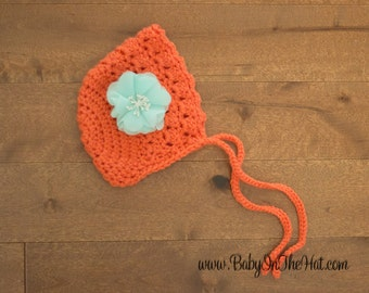 Newborn Girls Vintage Style Bonnet Crochet Photo Prop