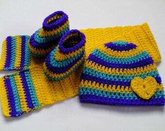 Crochet Baby Hat, Scarf and Booties Set gift children