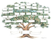 Family Tree Scrapbook Chart 12x12 inch,  5-6 generations, Ancestry Chart, Pedigree Chart, Genealogy, Pet Pedigree