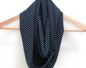 navy circle scarf, infinity scarf, loop scarf with white polka dots