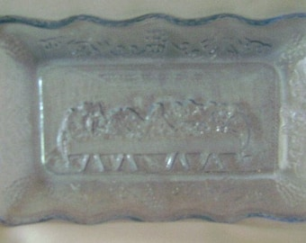 Tiara Indiana Glassware Lord's or Last Supper Tray