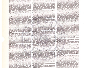 Vintage Dictionary Page - Love - Print It Yourself - Background - Wall Decor - CP-466 - 8.50 x 11 inch - Instant Download