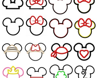 Mr and Miss Mouse Head Applique Set of 16- Machine Embroidery Design 4x4 5x7 6x10 INSTANT DOWNLOAD