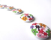 colorful flowers buttons happy spring 18 mm set of ten buttons nr. 31