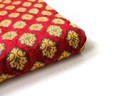 red yellow funny flowers silk brocade nr 166 fat quarter