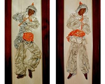 Sculptured Wall Art Pair Music Theme Flute Players Faux Papier Mâché Sculptures