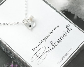 Will you be my bridesmaid card and initial necklace, Bridesmaids gifts, Bridal card, Bridesmaid necklace, Sterling silver