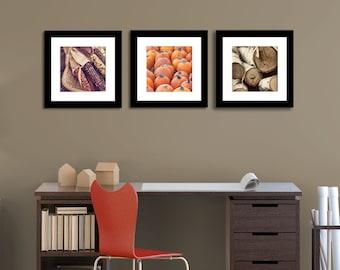 autumn print set, fall photography, home decor, photography set, 10x10 prints, set of 3 prints, fine art photography, wood, pumpkins, corn
