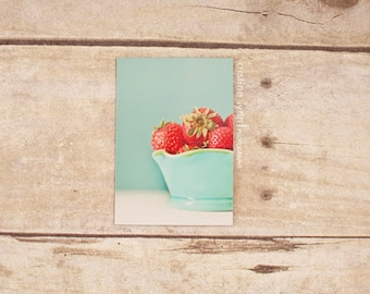 bowl of strawberries refrigerator magnet, still life photography, kitchen decor, photo magnet, vintage, photography, magnets