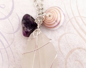 RESERVED for Ashley >> White Beach Glass Pendant Wire Wrapped with Chevron Amethyst Stone and Shell