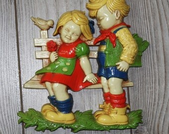 Vintage 1970s, Homco, Boy and Girl on Bench, Wall Hanging
