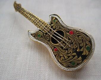 Spanish Damascene Guitar Brooch