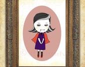 kids print girl-little vampire -art print, kids art, childrens decor, wall art, illustration, girls room art, poster, girl art print,whimsy