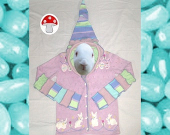 Easter Elf Hoodie Sz Medium Bunnies Eggs Pastel Colors Recycled Sweater Art Spring Jacket Sunday Best Springtime Fairy Cardigan Hoody