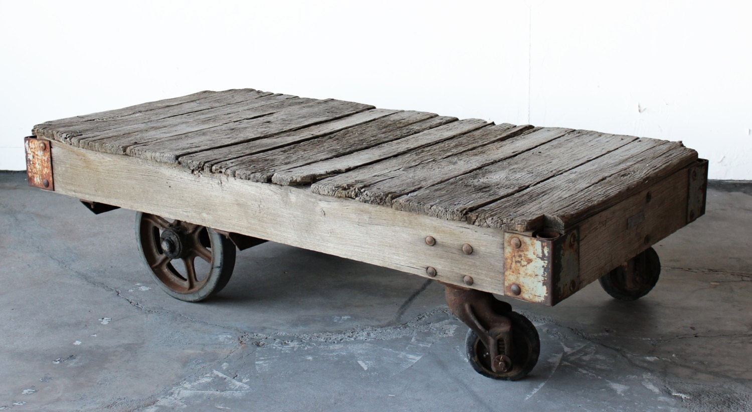 Antique Industrial Railroad Factory Cart Coffee Table
