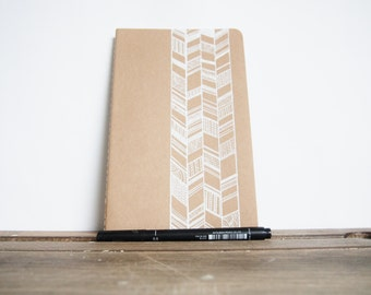 Hand Drawn Moleskine, White Chevron Plain Cahier