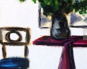 Downtown .. original oil painting on paper 5x7