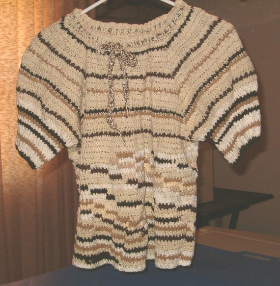 Crocheted Wandering Stripes Peasant Blouse