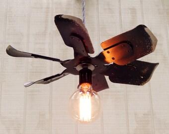 Hanging Industrial Pendant Light - Black Fan Blade Hanging Light