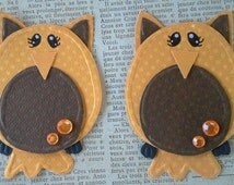 Owl embellishments fall embellishments Owl paper piecing Owl scrapbook embellishments  for card making tags and paper crafting
