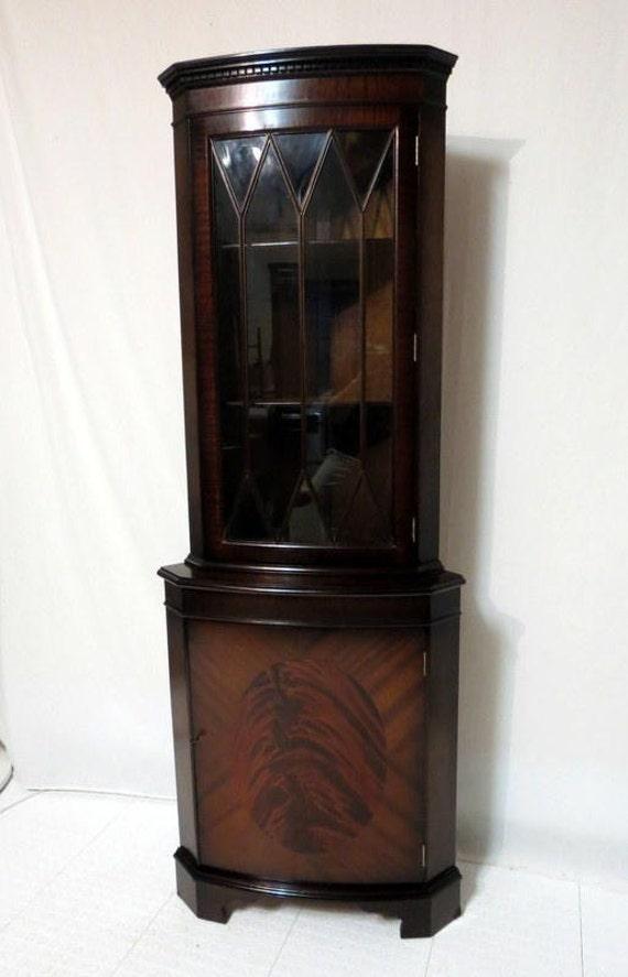 Vintage Antique China Corner Cabinet Duncan Phyfe Sheraton Regency
