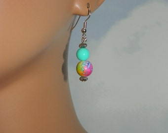 SALE Cute 1 Inch TIE-DYE Drop Earrings Your Choice of Colors