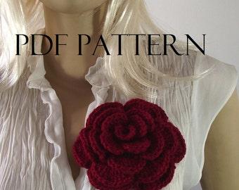 CROCHET Flower PATTERN Rose flower pattern Brooch Pin Embellishment pdf pattern instant download Flowers Crochet Patterns