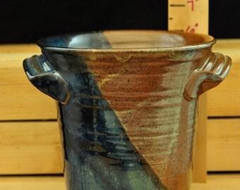 "6"" Tall Stoneware Pottery Utensil Holder/Wine Chiller/Vase with High Fire Glaze."
