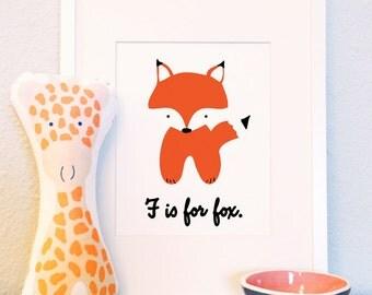 F is for Fox woodland animal nursery portrait illustration 5x7 8x10