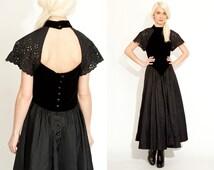Vintage 80s 90s Open Back Taffeta EYELET Full Skirt MAXI Dress // Velvet