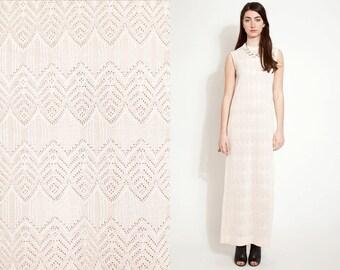 Vintage 60s 70s CROCHET LACE Maxi Pink Dress //