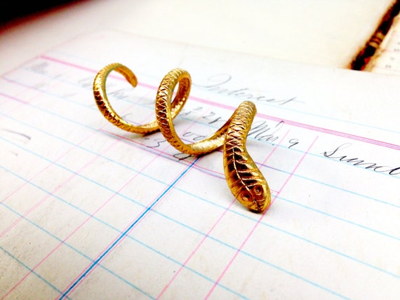 Gold Snake Charm ring - vintage gumball machine ring - gold snake