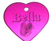 Heart Personalized Diamond ENGRAVED PET TAG Pet Id Tag Dog Cat Id Tag Your Choice Highest Quality Pet Id Tags