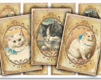 Digital Collage Sheet Download - Vintage Cats -  913  - Digital Paper - Instant Download Printables