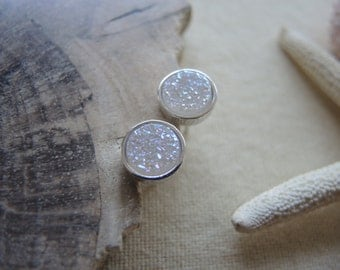 Natural White Druzy Studs, Rhodium Coated Sterling Silver Bezel Studs 8mm, Druzy Earrings, Druzy Stud Earrings, Druzy Jewelry Gifts For Her