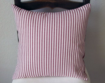 Decorative Pillow Cover Red Stripe Ticking Cotton Slip Cover