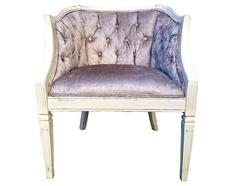 Vintage French Barrel Tub Cane Upholstered Tufted Chair Grey Velvet Chenille Designer Fabric Modern French Chic Furniture